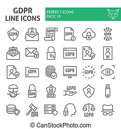 Gdpr line icon set, general data protection regulation symbols collection, vector sketches, logo illustrations, security signs linear pictograms package isolated on a white background.