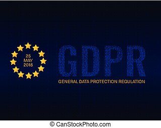 GDPR poster with stars and stream of binary code symbols and numbers on blue screen. Readiness and compliance for privacy policy law. European general data protection regulation vector concept.
