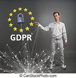gdpr, ou, dsgvo, concept., général, protection données, règlement, les, protection, de, personnel, data., jeune homme, fonctionnement, à, virtuel, interface.