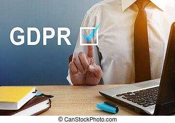 gdpr., planchado, general, protección, button., regulación, hombre, datos