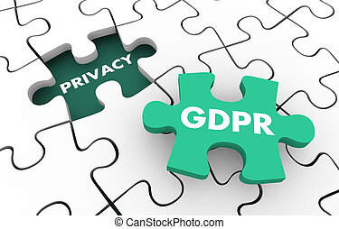 GDPR Privacy Rules Regulations Compliance Puzzle 3d Illustration