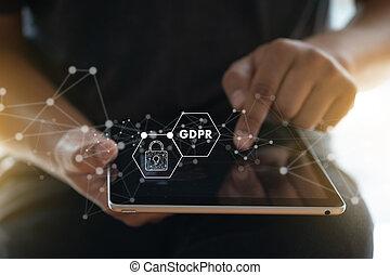 gdpr., protection données, règlement, il, technologist,...
