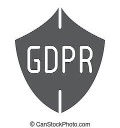 gdpr, protector, glyph, icono, intimidad, y, proteger, seguridad, señal, vector, gráficos, un, sólido, patrón, en, un, blanco, fondo.