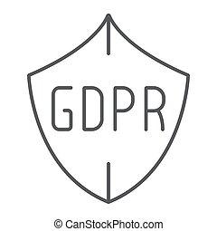 gdpr, protector, línea fina, icono, intimidad, y, proteger, seguridad, señal, vector, gráficos, un, lineal, patrón, en, un, blanco, fondo.