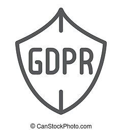 gdpr, protector, línea, icono, intimidad, y, proteger, seguridad, señal, vector, gráficos, un, lineal, patrón, en, un, blanco, fondo.