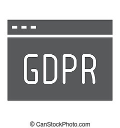 Gdpr site glyph icon, webpage and website, browser sign,...