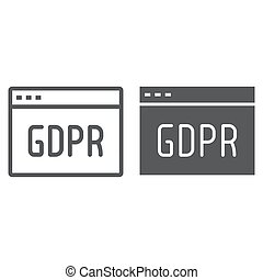 Gdpr site line and glyph icon, webpage and website, browser...