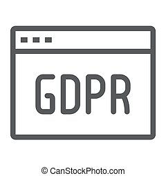 Gdpr site line icon, webpage and website, browser sign,...
