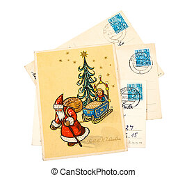 GDR - CIRCA 1956: Greeting Christmas Card printed in the East Germany (GDR) shows Santa Claus and Christmas tree, circa 1956