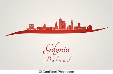 Gdynia skyline in red