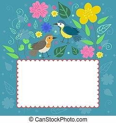 geëerde, doodle, frame, vector, graphics., plants., vogels