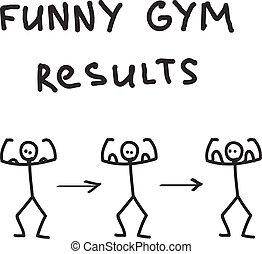 geïllustreerd, gekke , gym, karakter, resultaten