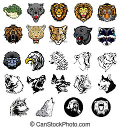 geïllustreerd, set, van, wilde dieren, en