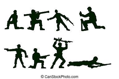 geïllustreerd, soldaten, leger