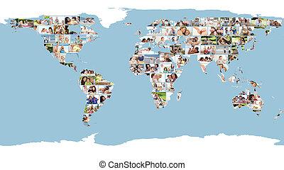 geïllustreerd, wereldkaart, gemaakt, van, afbeeldingen