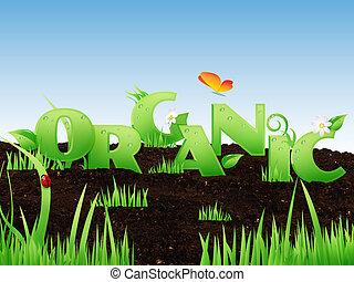 """geïllustreerd, woord, """"organic"""""""