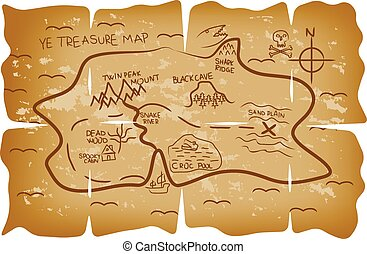 geïllustreerde kaart, schat, zeerover