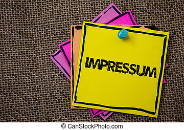 geïmponeerd, concept, woord, eigendom, zakelijk, informatie, duitse tekst, impressum., berichten, ideeën, schrijvende , afdruk, achtergrond., belangrijk, verklaring, papieren, auteurschap, gegraveerde, jute, zich herinneren
