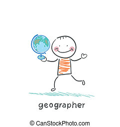 geógrafo, é, em, a, mãos, de, globo