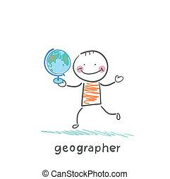 geógrafo, es, en, el, manos, de, globo