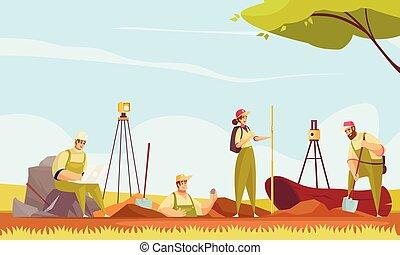 geólogo, tierra, plano, composición