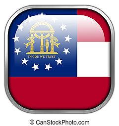 geórgia, botão, bandeira estatal, quadrado, lustroso