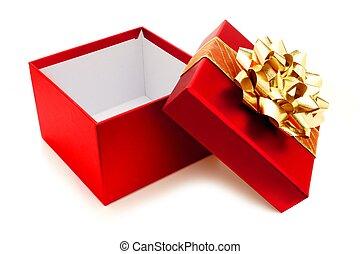 geöffnet, rotes , weihnachtsgeschenk, kasten