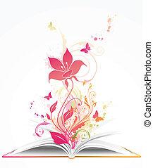 geöffnetes buch, und, rosafarbene blume