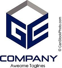 ge, concept, carrée, lettre, 3d