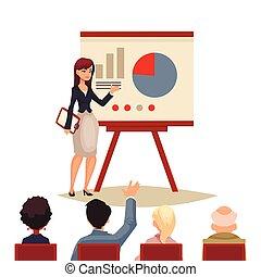 ge sig, affärskvinna, presentation, bord, användande