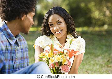 ge sig, flowers., kvinna, man