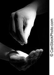 ge sig, foto, en annan, hand