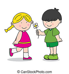 ge sig, pojke, flicka, blomma