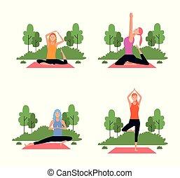 ge sig sken, sätta, kvinna, yoga