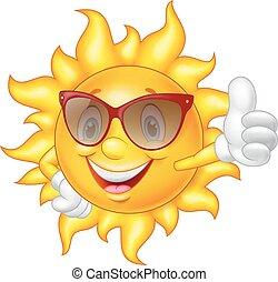 ge sig, sol, tumme, tecknad film, uppe