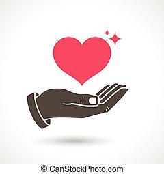 ge sig, symbol, kärlek, hand