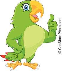 ge sig, tumme uppe, papegoja, tecknad film