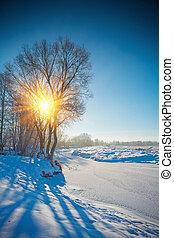 geado, e, nevado, pequeno, rio