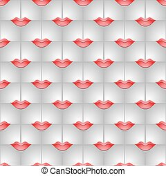 Geametrical 3D seamless background with lips.