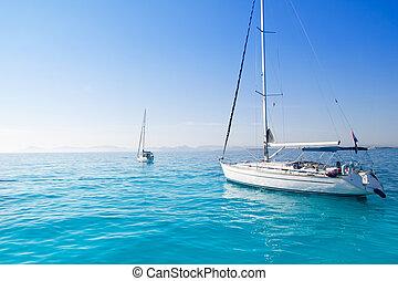 geankert, segelboote, türkis, formentera, sandstrand