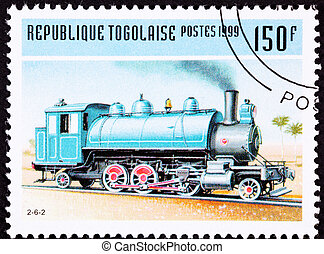 geannuleerde, togo, trein, postzegel, oud, spoorweg,...