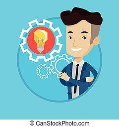 gear., 電球, 考え, ビジネス男