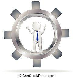 Gear 3D man logo vector