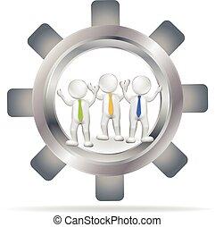Gear 3D team people logo vector