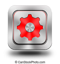 Gear aluminum glossy icon, button