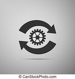 Gear and arrows as workflow concept icon isolated on grey background. Gear reload sign. Flat design. Vector Illustration