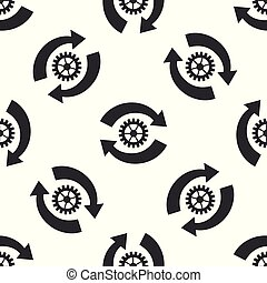 Gear and arrows as workflow concept icon seamless pattern on white background. Gear reload sign. Flat design. Vector Illustration