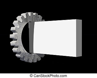 gear and blank sign - gear and blank box on black background...