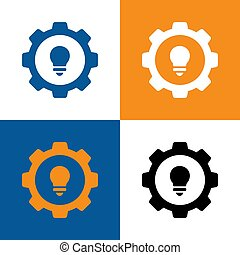 Gear and light bulb logo design template, creative lamp and cog wheel symbol - Vector