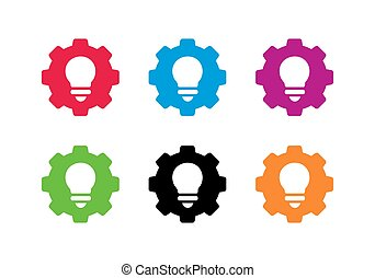 Gear and light bulb logo set, simple collection of cogwheel and lamp, vector icon illustration design